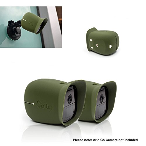 Silicone Skins for Arlo Go (2 pcs green) for Arlo Go Mobile HD Wireless Free Camera Protective Case Cover - for Netgear Arlo Go Smart Security Accessories Silikon Case - For VML4030-200NAS - By Sully