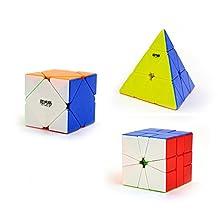 I-xun Stickerless Magic Cube Puzzle Set of Pyraminx, Skewb and SQ-1 Speed Cube - 3 Pack