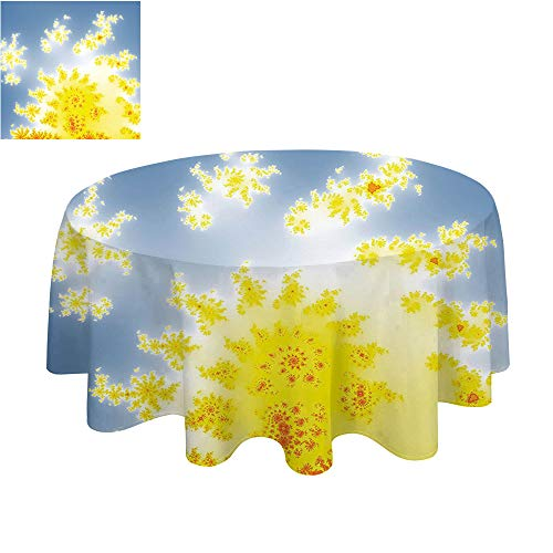 SATVSHOP Home Decor Round tablecloth-70Inch-Solid Soft Dinner Table Cover.Fractal Vibrant Floral Motif with Bright Trippy Shap Fantastic Artistic Fiction Graphic Yellow Blue.