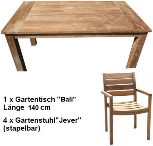 Wohnpalast Wismar 140 - Juego de Muebles de jardín (Madera de Teca ...