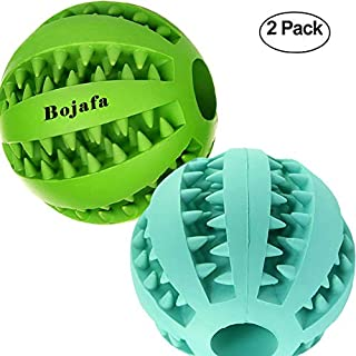 Bojafa Best Dog Teething Toys Ball Nontoxic Durable Dog IQ Puzzle Chew Toys for Puppy Small Large Dog Teeth Cleaning/Chewing/Playing/Treat Dispensing (2 Pack)