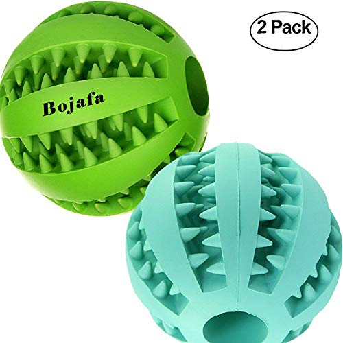 - Bojafa Best Dog Teething Toys Balls Durable Dog IQ Puzzle Chew Toys for Puppy Small Large Dog Teeth Cleaning/Chewing/Playing/Treat Dispensing (2 Pack)