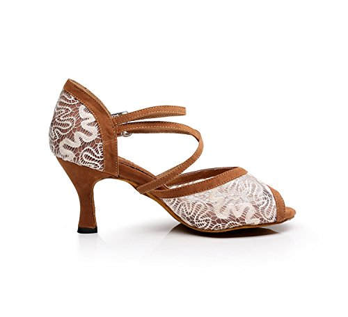Evening Tango Coffee Lace Dance Heel Ballroom Women's Minitoo Shoes 5cm Wedding Floral 7 TQJ3005 Latin Sandals Sg7wz