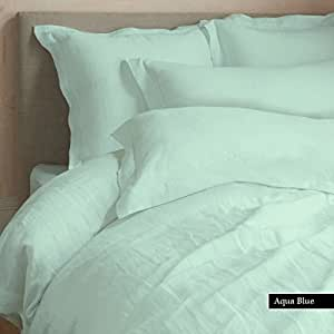NILE BED LINENS Egyptian Cotton Fitted Sheet Fits Up To 15 Inches Extra Deep Pocket 800 Thread Count Solid FULL Size AQUA BLUE Color
