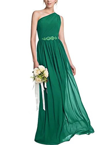 One Green Gowns Bridesmaid for Ruched Shoulder A Line Beading Evening Wedding Dresses Long Party wwARrxOZ