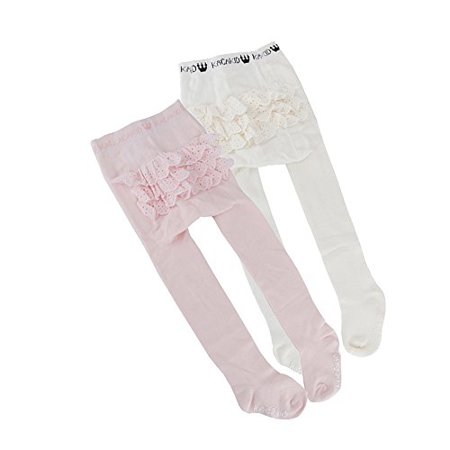 Ehdching 2 Pack Lovely Baby Infant Toddler Girls Anti-Slip Ruffle Rhumba Tights(white pink) (white pink, 0-24 months)