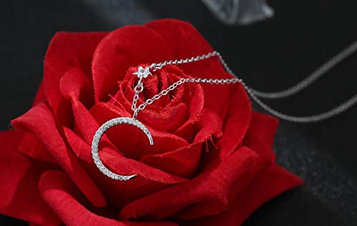 Davitu Crystal Moon Star Pendants/&Necklaces Pure Sterling Silver 925 Chain Necklace Jewelry Collar Colar de Plata