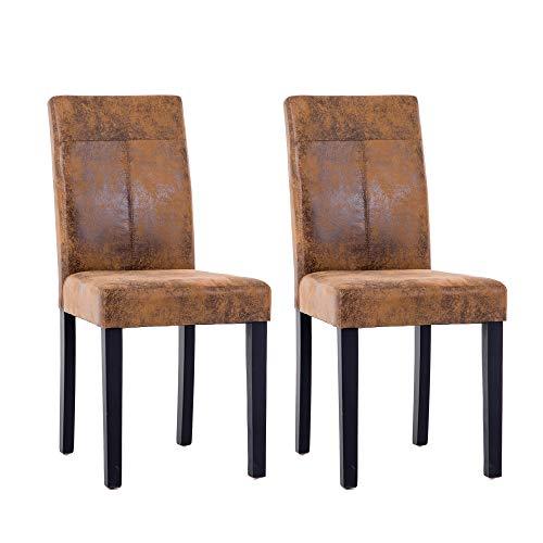 NOBPEINT Urban Style Solid Wood Leatherette Padded Parson Chair, Brown, Set of 2