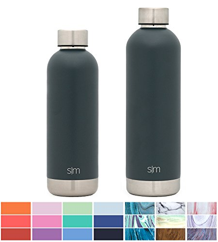 Simple Modern 25oz Bolt Water Bottle - Stainless Steel Hydro Swell Flask - Double Wall Vacuum Insulated Reusable Grey Small Kids Coffee Tumbler Leakproof Thermos - Graphite