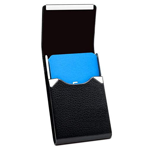 Padike Professional Business Card Holder PU Leather Business Card Case Name Card Holder Slim Metal Pocket Card Holder with Magnetic Shut