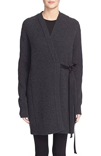 Cashmere Tie Front Cardigan (Helmut Lang Women's Wool & Cashmere Ribbon Tie Wrap Cardigan Sweater, Charcoal, Large)