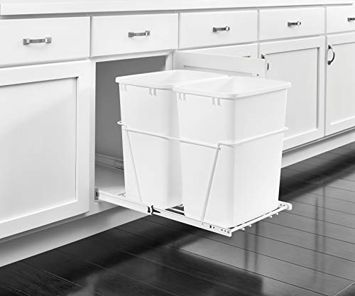 (Rev-A-Shelf Double 35 Quart Pullout Waste Containers, 5-9 Gallons, White)