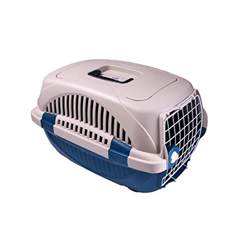 Choco Nose H165 19.8 Inch, Double Locked Durable Pet Carrier, Travel Pet Crate, Pet Kennel, for Pets Under 12 Lb, Mini to Small-sized Dog, Cat, Rabbit, Chinchilla (Blue) by Choco Nose