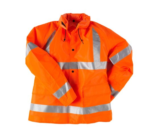 Neese Viz 9002AJ Flame Resistant Polyurethane/Nylon Telecom ANSI Class 3 High Visibility Jacket with Attached Tuck-Away Hood, 2X-Large, Orange