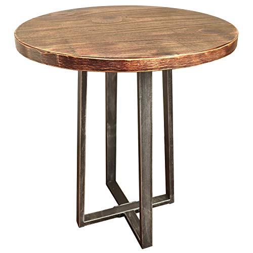 Barnyard Designs Round End Table - Rustic Solid Pine Wood - Decorative Side Table Accent 21.75