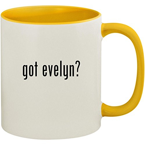 got evelyn? - 11oz Ceramic Colored Inside and Handle Coffee Mug Cup, Yellow