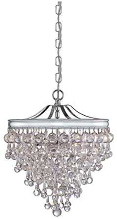 Crystorama 130-CH Calypso Collection 3-Light Pendant, Polished Chrome Finish with Clear Smooth Glass Balls