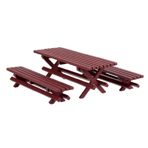 (Dollhouse Miniature Redwood Picnic Table with Benches)
