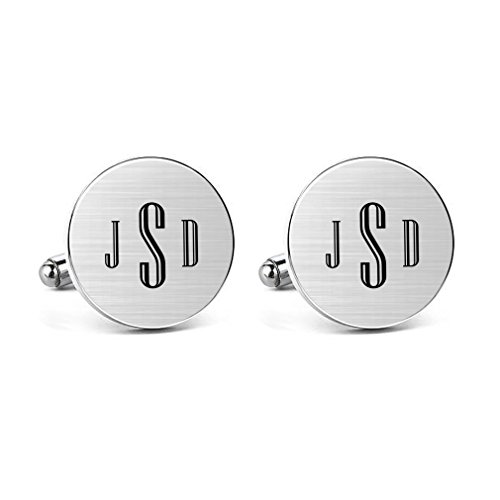 MUEEU Mens Cufflinks Engraved Initial Monogram Alphabet Letter Cufflinks Formal Wedding Shirts Jewelry (Round Cufflinks) (Personalized Cufflinks Round)