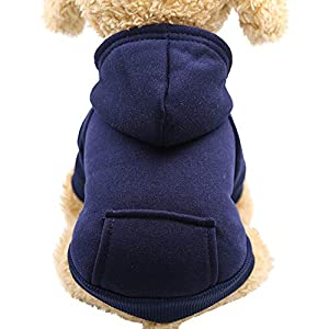Sunward Puppy Clothing,Polyester Hoodied Sweatshirts with Pocket Dog Clothes Pet Clothing
