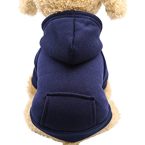 Puppy Dog Cat Vest T-Shirt Sweater Apparel,Unisex Pet Winter Coat Dress Clothes (M, Navy) -