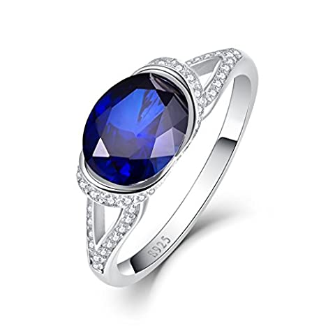 Merthus Womens 925 Sterling Silver Created Blue Sapphire Split Shank Band Ring - Oval Created Sapphire Solitaire Ring