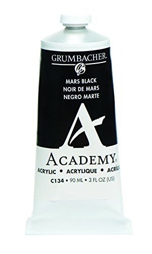 Grumbacher Academy Acrylic Paint, 90ml/3 oz Metal Tube, Mars Black Hue