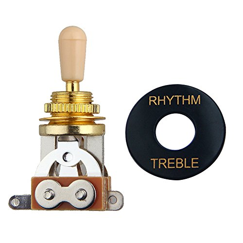 Kmise OT0120 3 Way Toggle Switch Pickup Selector for Electric Guitar,Golden/Ivory Tip