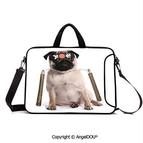 - AngelDOU Notebook Bag for School Laptop Sleeve Messenger Bags Ninja Puppy with Nunchuk Karate Dog Eastern Warrior Inspired Costume Pug Image D PC Cover case Compatible with mac pro/asus/acer/hp/xia