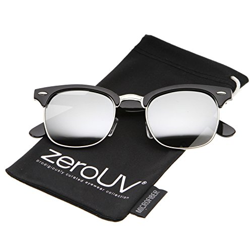 zeroUV - Premium Half Frame Horn Rimmed Sunglasses with Metal Rivets (Flash Mirror Series | Shiny-Black-Silver / Mirror)