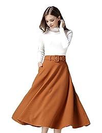 DEAN Women's Elegant Wool Winter A-line Daily Casual Long Maxi Skirts Work Dresses