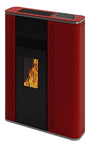 Estufa Pellets 11,74KW canalizable fondo 22cm (Rojo)