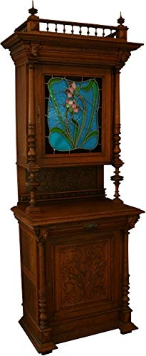 EuroLuxHome Antique Flemish Oak Buffet/Hutch Blue/Green/Pink Floral Stained Glass Jester