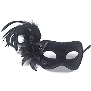 Aadan Feather Lady Masquerade Fashion Boutique Party Mask (Black)