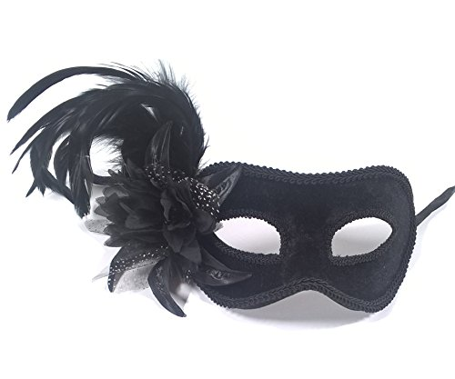Aadan Feather Lady Masquerade Fashion Boutique Party Mask (Black Velvet Feather Mask)
