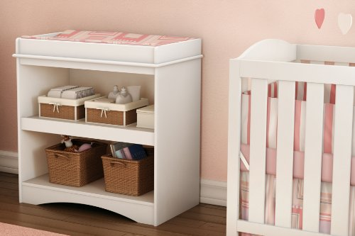 South Shore Cuddly Changing Table with 2 Drawers and open Storage Space, White
