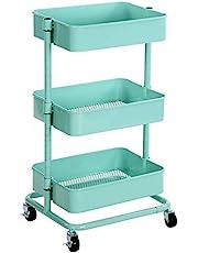 SONGMICS Wózek z 3 poziomami, wózek magazynowy, półka kuchenna na kółkach, przegródki magazynowe z regulacją wysokości, wózek do serwowania z 2 hamulcami, łatwy montaż, do łazienki, kuchni, biura, zielony miętowy BSC60M