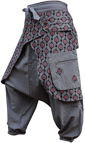 - Shopoholic Fashion Unisex Eye Print Hippie Harem Loose Pants Bohoo Retro Gypsy Baggy Hippy Trouser[Grey,S]