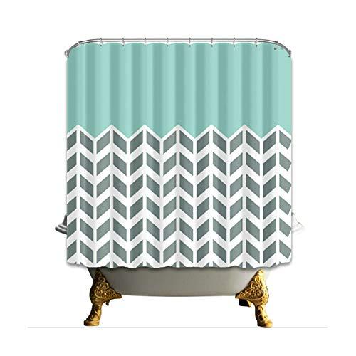 Daesar 3D Shower Curtain Anti Mold Shower Curtain Blau Weiß Stripe Vintage Shower Curtain Polyester Fabric 180 x 180 -