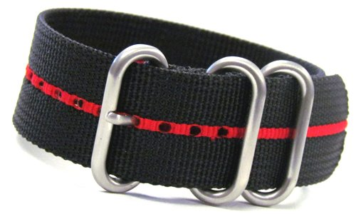 Red Stripes Watch - 22mm Panatime Black Ballistic Nylon Nato Watch Band with Red Stripe and 3 Stainless Steel Rings 10.5
