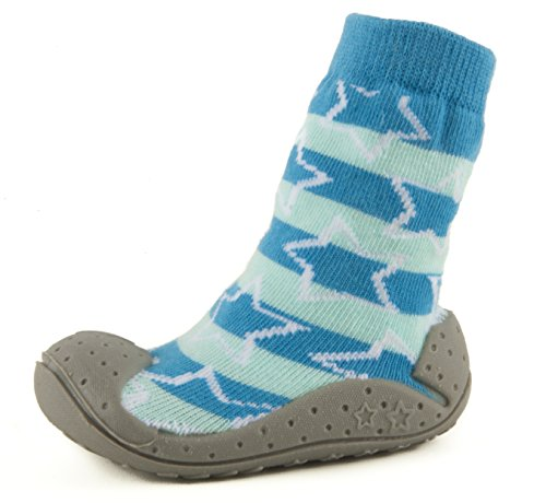 COMObaby Infant Toddler Non-Skid Rubber Sole Socks (Sky-star) Size 5-3/8