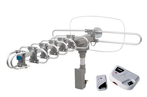 Polaroid Outdoor Amplified HDTV Antenna - 150 Mile Range, 360° Rotation, Wireless Remote, Enhanced Quality & Sound
