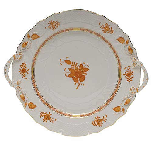 Herend Chinese Bouquet Rust Porcelain Chop Plate With Handles