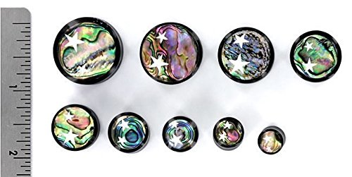 Ear Gauge With Abalone Inlay And Celestial Stars Elementals Organics Horn Plug For Ear
