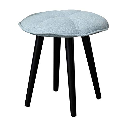 Solid Wood Makeup Stool Knit Cushion Fabric Dressing Stool Home WEIYV (Color : Blue, Size : 4343cm) ()