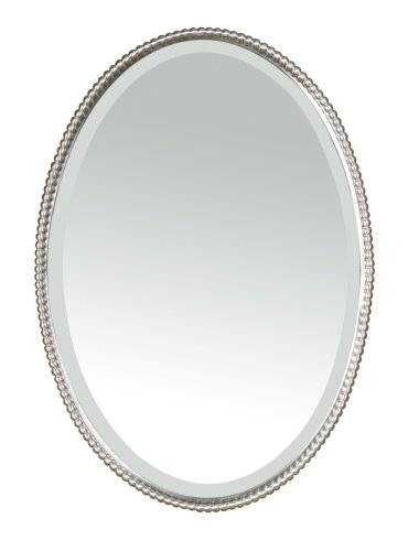 Uttermost 01102 Sherise Oval Brushed Nickel Beaded Wall Mirror