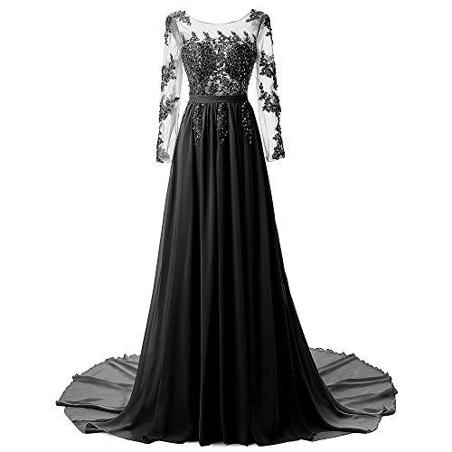 Chiffon Sera Donna Banchetto Vestiti Formale Niais In Abito Da Black Matrimonio Pizzo Vestito Lunghi Elegante Oaw7nqdw8