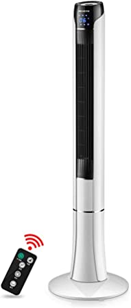 Opinión sobre FHDF Ventilador de Torre silencioso oscilante con Mando a Distancia, Portátil Bladeless aspas Tower Fans 3 velocidades 3 Modos 15H Temporizadorr para El Hogar Y La Oficina, H120cm, 45W, Blanco