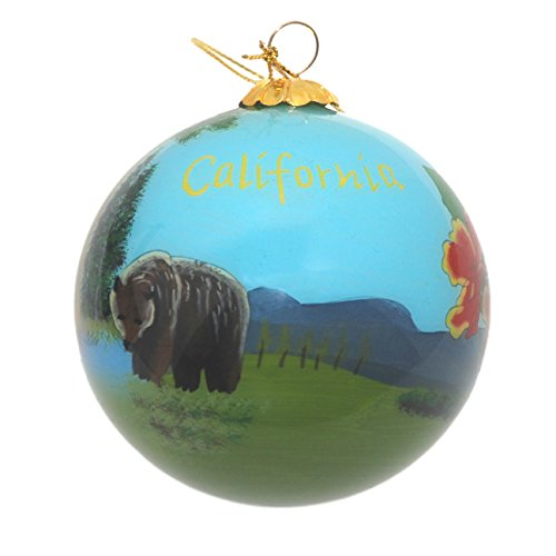 Hand Painted Glass Christmas Ornament - California State - Ornaments California