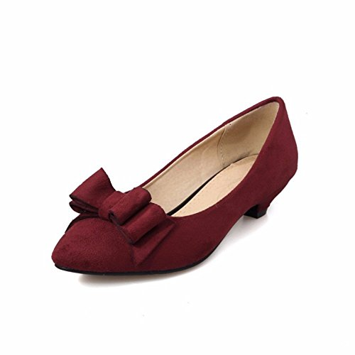 zapatos dulce de ligero tallas grande boca calzado la wine zapatos Pajarita con Red grandes de mujer Tzdx4AqTw